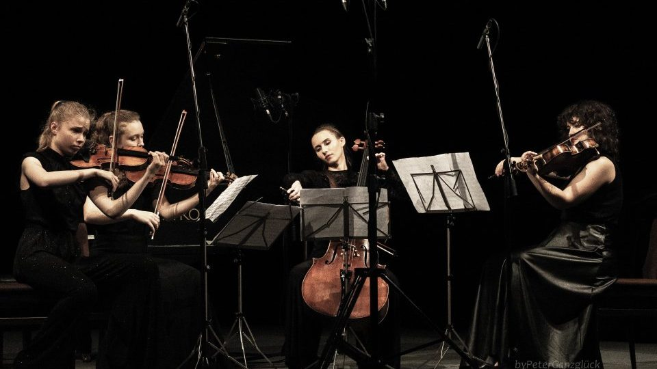 Veloce String Quartet at the concert at the J. K. Tyl Theatre in Třeboň